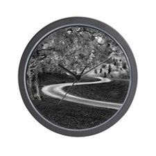 Curve road with landscape. Wall Clock