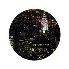 """Chrysler Building at night, New York C 3.5"""" Button"""
