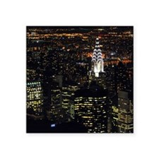 "Chrysler Building at night, Square Sticker 3"" x 3"""