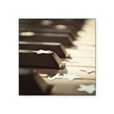 "Close up of piano keys with Square Sticker 3"" x 3"""