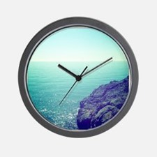 Cliff of mountain and Mediterranean Sea Wall Clock