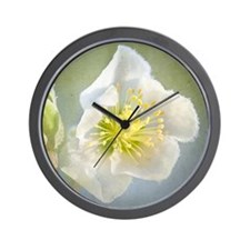 Christmas rose against textured backgro Wall Clock
