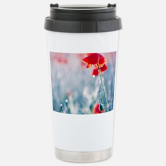 Field of red poppies in Stainless Steel Travel Mug
