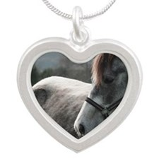 Close-up of Horse Silver Heart Necklace