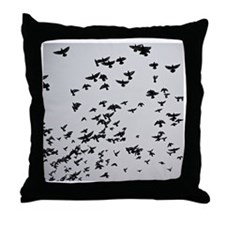 Flock of flying pigeons in sky. Throw Pillow