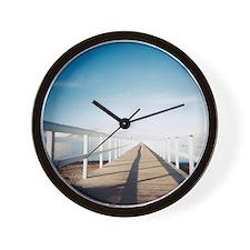 Foot bridge leading to beach. Wall Clock