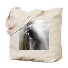 Close up of White horse eye Tote Bag