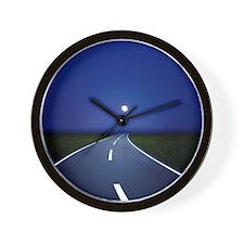 Curved road at night Wall Clock