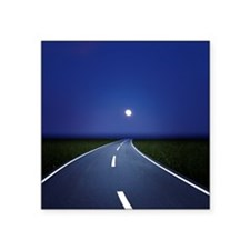 """Curved road at night Square Sticker 3"""" x 3"""""""
