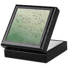 Flying flock of birds in sky by moon. Keepsake Box