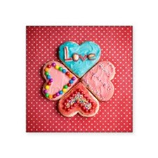"""Four brightly decorated hea Square Sticker 3"""" x 3"""""""