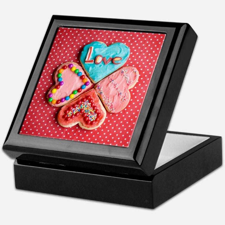 Four brightly decorated heart-shaped  Keepsake Box