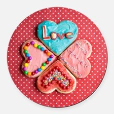 Four brightly decorated heart-sha Round Car Magnet