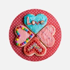 """Four brightly decorated heart-shaped b 3.5"""" Button"""