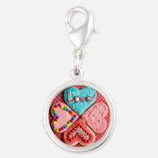Four brightly decorated heart- Silver Round Charm