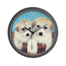 Four week old twin puppies. Wall Clock