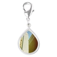Empire State building, New  Silver Teardrop Charm