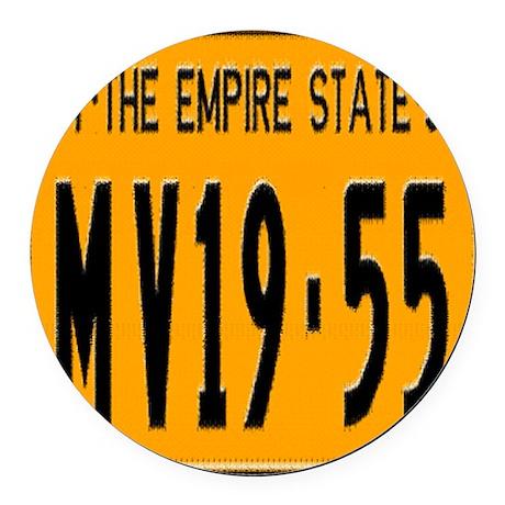 1955 New York License Plate Round Car Magnet