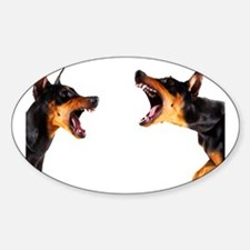 Dobermans barking at each other Decal