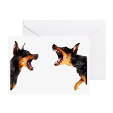 Dobermans barking at each other Greeting Card