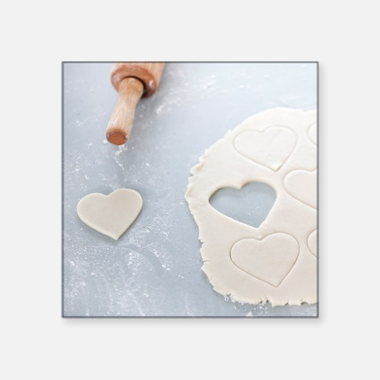 "Heart shape cut out of a sh Square Sticker 3"" x 3"""
