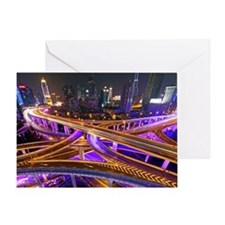 Highway intersection at night, Shang Greeting Card