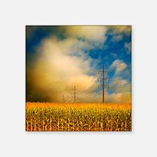 "Corn field at sunrise. Square Sticker 3"" x 3"""