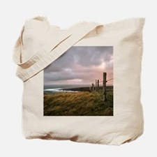 Fence stretches toward bloody foreland at Tote Bag