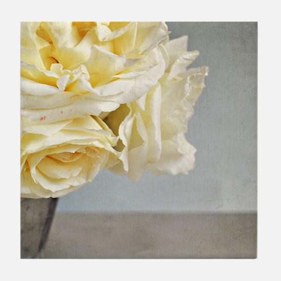 Cream vanilla roses in silver vase ag Tile Coaster