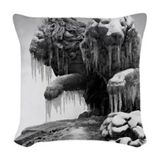 Lion sculpture with icicles fr Woven Throw Pillow