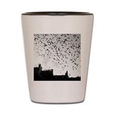 Flock of birds flying. Shot Glass