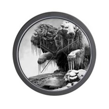 Lion sculpture with icicles frozen. Wall Clock