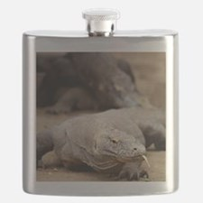 Komodo dragon with tongue sticking out Flask