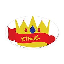King Crown Ribbon Oval Car Magnet