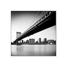 "Manhattan Bridge and skylin Square Sticker 3"" x 3"""