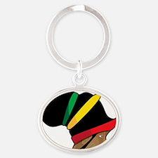 Rastafarian Oval Keychain