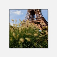 """Low point of view on Eiffel Square Sticker 3"""" x 3"""""""