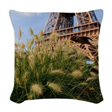 Low point of view on Eiffel To Woven Throw Pillow