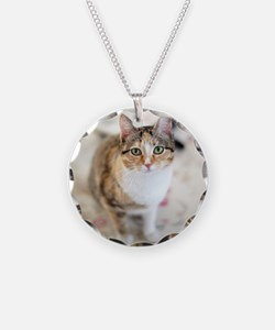 Green eyed cat on cloth on t Necklace