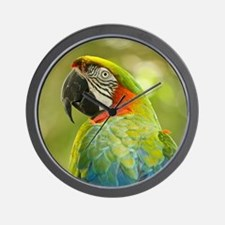 Green macaw parrot on green background. Wall Clock