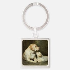 Labrador dog with her puppy Square Keychain