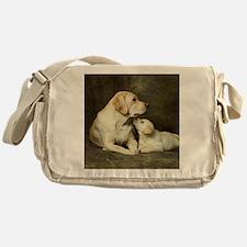 Labrador dog with her puppy Messenger Bag