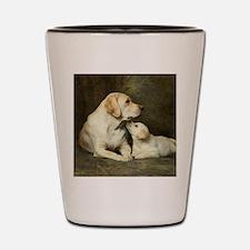 Labrador dog with her puppy Shot Glass