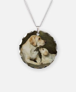 Labrador dog with her puppy Necklace