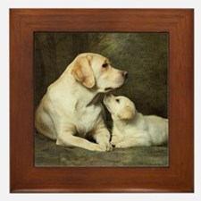 Labrador dog with her puppy Framed Tile