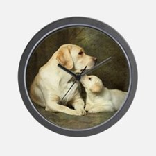 Labrador dog with her puppy Wall Clock