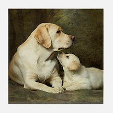 Labrador dog with her puppy Tile Coaster