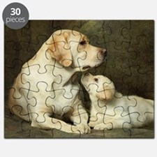 Labrador dog with her puppy Puzzle