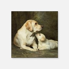 "Labrador dog with her puppy Square Sticker 3"" x 3"""
