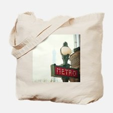 Metro sign in Paris with Eiffel Tower in  Tote Bag